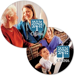 Lenticular sticker with custom design, Cigna medical company, granny and a mother's child get a doctor check up, flip