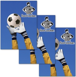 Lenticular sticker with custom design, Foot Locker, soccer football goalie grabs the ball with his white gloves, animation