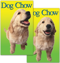 Lenticular sticker with custom design, Dog Chow, golden retreiver puppy tilts its head in front of a yellow and green gradient background, flip
