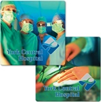3D Lenticular sticker with custom design, AMR Medical, surgeons huddle together and discuss surgery, cut wound with scalpel, flip