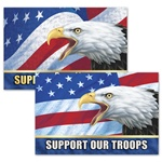 Lenticular sticker with USA American bald eagle, flag with stars and stripes, support our troops, depth flip