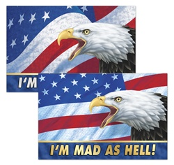 Lenticular sticker with USA American bald eagle, flag with stars and stripes, I'm mad as hell, depth flip