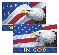 Lenticular  8 x 12 inch  sticker with USA American bald eagle, flag with stars and stripes, in God we trust, depth flip