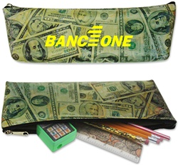 Lenticular pencil case with United States of America USA money, currency, dollars and coins, flip