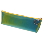 Lenticular pencil case with yellow, blue, and green, color changing