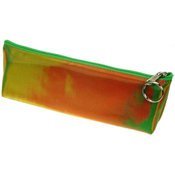 Lenticular pencil case with yellow, red, and green, color changing with
