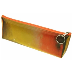 Lenticular pencil case with brown, yellow, and orange, color changing with