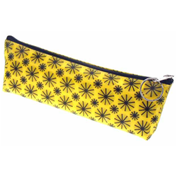 "Lenticular pencil case 8.5"" x 3"" x 1"" with black spinning wheels on yellow background"