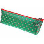 Lenticular pencil case with white and red stars on a green background, color changing flip