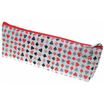 Lenticular pencil case with playing cards with clubs, spades, diamonds, and hearts, color changing flip