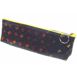 Lenticular pencil case with yellow, red, and green butterflies on a black background, color changing flip