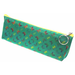 Lenticular pencil case with yellow, red, and green butterflies on a green background, color changing flip