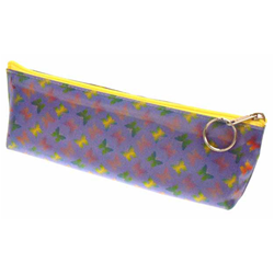Lenticular pencil case with rainbow butterflies on a purple background, color changing flip
