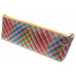 Lenticular pencil case with vibrant colorful plaid pattern, color changing
