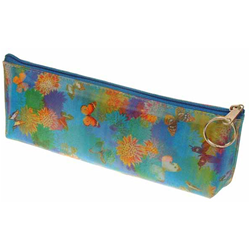 Lenticular pencil case with cute spring flowers and butterflies, flip with