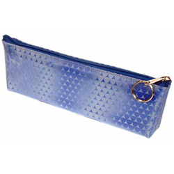Lenticular pencil case with blue triangles on a silver and blue gradient background, flip