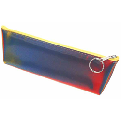 Lenticular pencil case with red, yellow, blue, and green, color changing