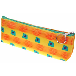 Lenticular pencil case with orange balls and green squares move in front of a yellow background