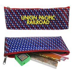 Lenticular pencil case with USA flag stars and stripes, color changing flip