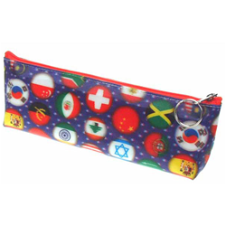 Lenticular pencil case with international flags including USA, Mexico, Canada, France, Israel, Switzerland and more, depth
