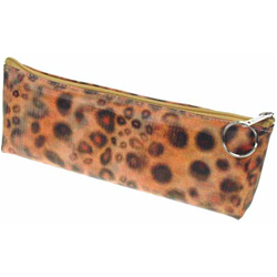 Lenticular pencil case with wild animal leopard print, color changing flip