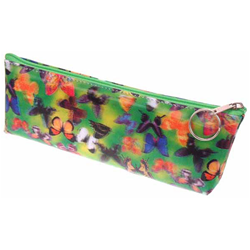 Lenticular pencil case with butterflies of different colors and types hover over a green background, depth