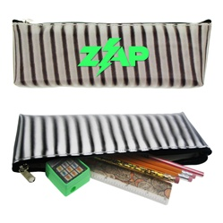Lenticular pencil case with black and white stripes, animation