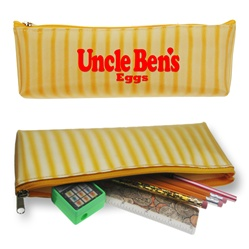 Lenticular pencil case with yellow and white stripes, animation