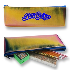 Lenticular pencil case with red, yellow, and black gradient, color changing