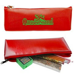 Lenticular pencil case with red and white gradient, color changing