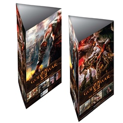Lenticular table tent, custom design, God of War 2 II video game, bloody monsters appear to pop out at the viewer, depth