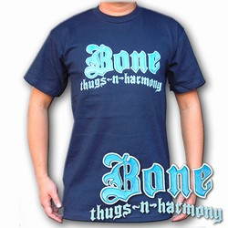 Lenticular t-shirt with Bone Thugs-N-Harmony hip-hop rap band, light blue to dark blue, color changing