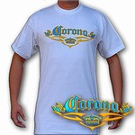 Lenticular t-shirt with Corona Mexican beer company, writing and logo, turquoise to yellow, color changing