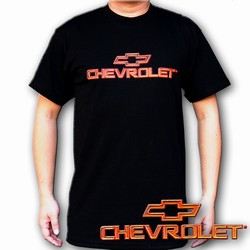 Lenticular t-shirt with Chevrolet writing and symbol, red to gold, color changing