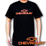 Lenticular t-shirt with custom design, Chevrolet writing and symbol, red to gold, color changing