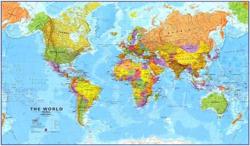 World Political Laminated By Maps International Ltd