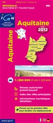 Aquitaine, France, Regional Map by Institut Geographique National
