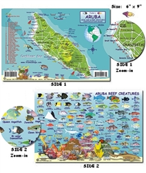 Aruba Mini-Map and Reef Creatures Identification Guide by Frankos Maps Ltd.