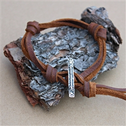 Latigo Leather Knot Bracelet with Arrow Bar Toggle