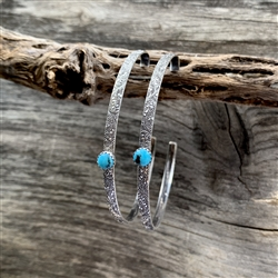 Floral Scroll Turquoise Dot Hoop Earrings