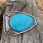 Arrowhead Belt Buckle with Birdseye Turquoise