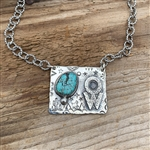 HORIZTONAL BRAND NECKLACE WITH TURQUOISE