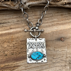 Custom Vertical Brand Pendant with Turquoise