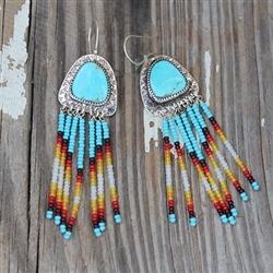 Dangling Beaded Turquoise Earrings
