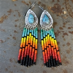 Dangling Teardrop Beaded Turquoise Earrings