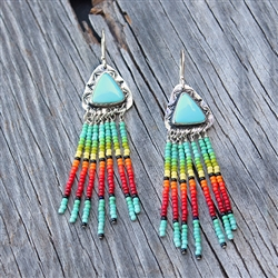 Dangling Beaded Triangle Turquoise Earrings