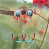 Dangling Beaded Hoop Turquoise Earrings