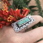 Turquoise Scalloped Rectangle Ring