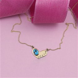 14K Gold & Turquoise Heart