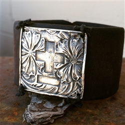 Cross Bar Leather Cuff